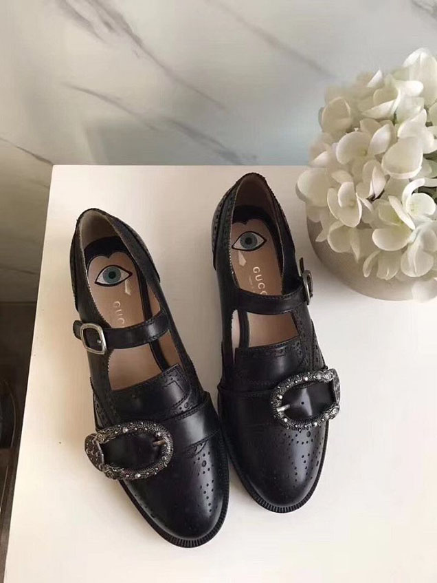 Gucci Queercore Brogue Studded Tiger Head Buckle Shoes 452861 Calfskin Leather Spring Summer 2018 Collection Black