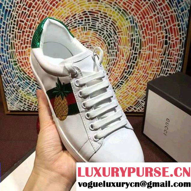 Gucci Embroidered Pineapple& Beatle Low-top Sneaker 2016 (SZ4029-6042001 )