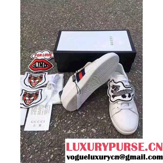 Gucci Ace Sneaker with Removable Patches UFO/Dragon 2017 (LG-7061312 )