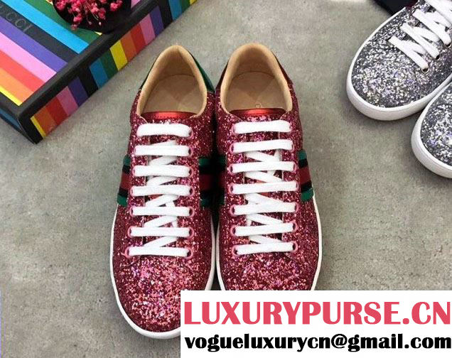 Gucci Web Ace Glitter Sneakers 475213 rosy 2017