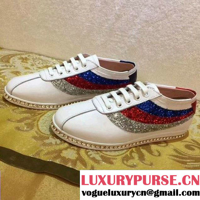 Gucci Falacer Sneaker With Glitter Sylive Web White 2018 (GD1054-8022721 )