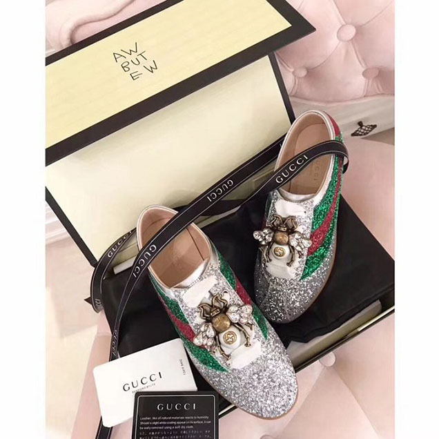 Gucci Retro Falacer Bee Crystal Appliqué Glitter Sneakers 494609 Calfskin Leather Spring Summer 2018 Collection Silver