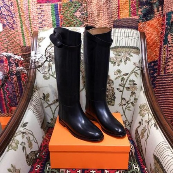 Hermes Equestrian Outline Riding Jumping Boots Calfskin Leather Fall/Winter 2018 Collection, Black