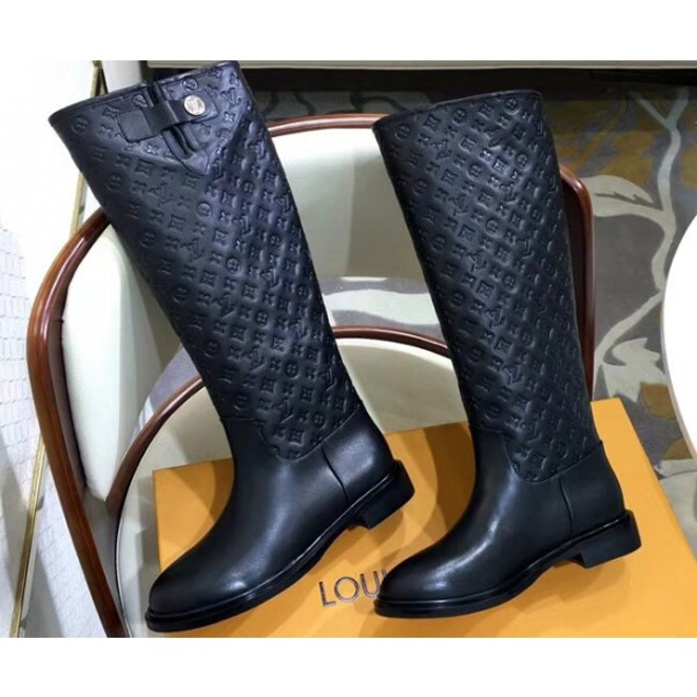 Louis Vuitton Monogram Flower Embossed High Boots