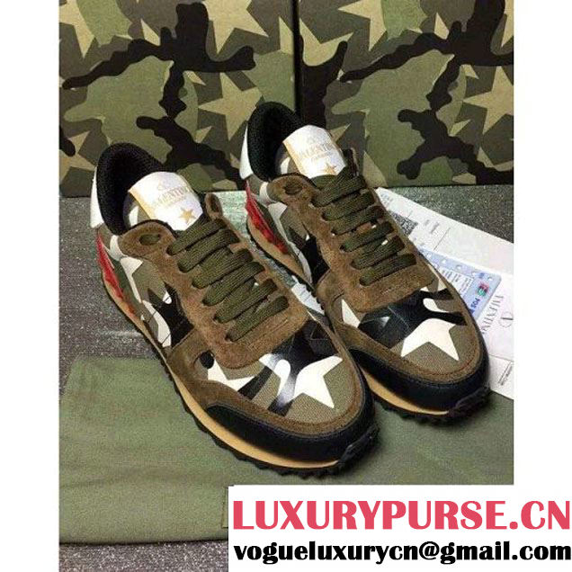 Valentino Starstudded Rockrunner Sneaker For Woman/Men Army Green 2016 (GD3015-6082647 )