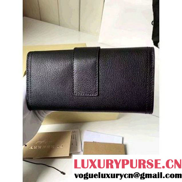Burberry Textured Leather Continental Wallet with Buckle 40224271 Black 2016 (2A016-6082629 )