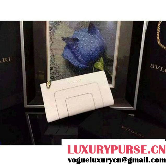 Bvlgari Calf Leather Serpenti Forever Floded Zip Wallet White (BGJ-121622 )