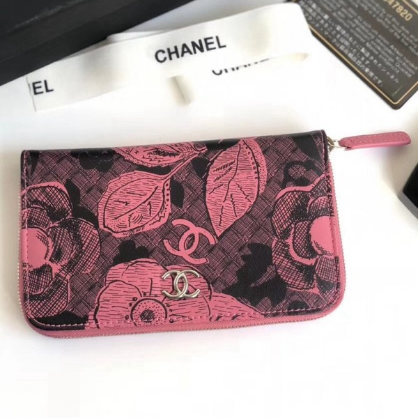 Chanel Printed Lambskin Zippy Wallet Pink 2018 Collection