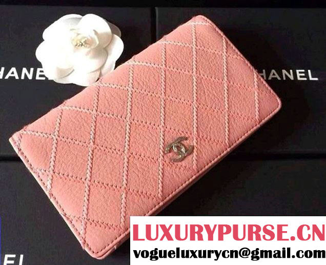 Chanel Large Stitch Wallet in Pink 2014