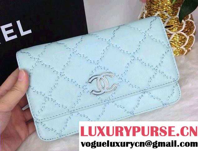 Chanel Hampton Wallet On Chain(WOC) Bag in Pale Turquoise