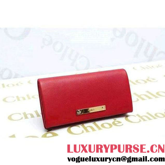 Chloe Long Wallet With Flap Fold Over In Red Lambskin (1A069-112417 )