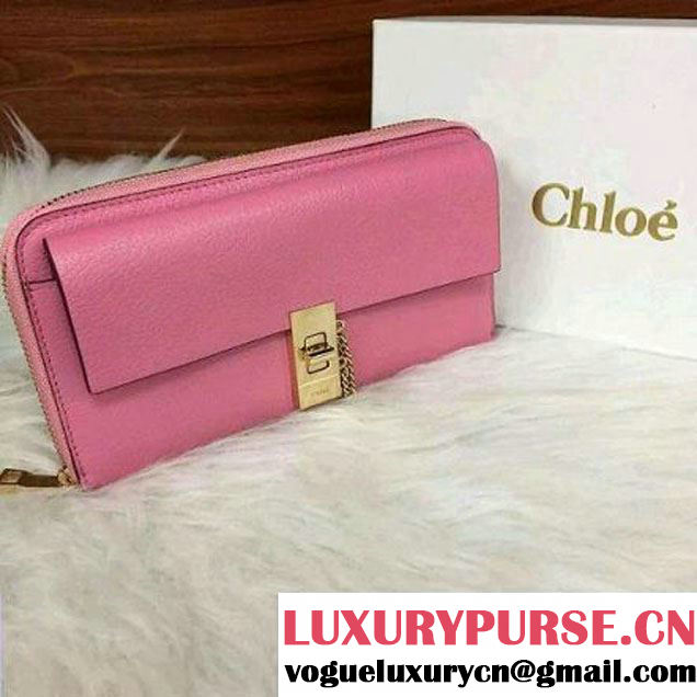 Chloe Grainy Calfskin Wallet with Zipper Pink (1b022-6012036 )