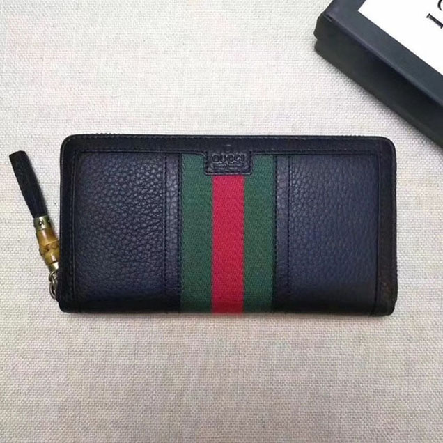 Gucci Leather zipper wallet 353651 black