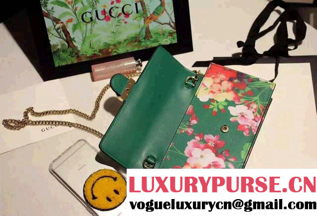 Gucci Icon Gucci Signature Blooms Print Leather Chain Wallet 420088 Green 2016