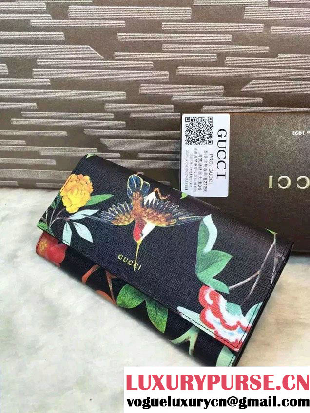 Gucci Leather Continental Wallet 424892 Tian Black 2016