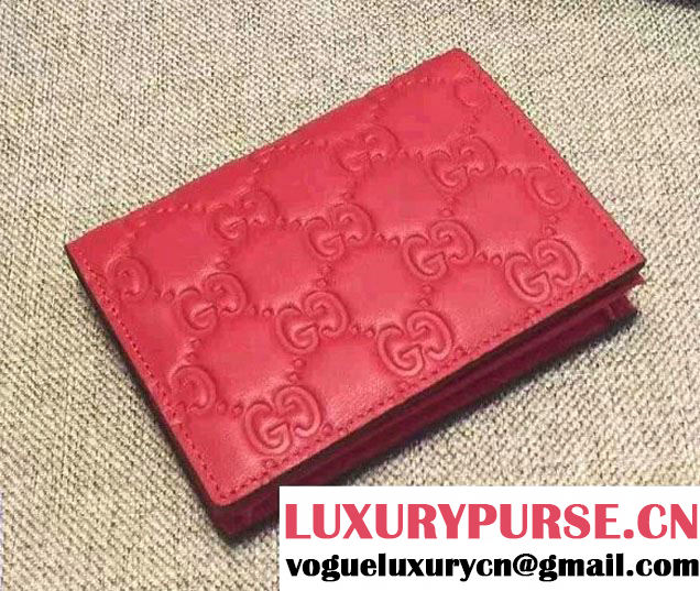 Gucci Signature Leather Card Case Wallet 410120 Red 2016