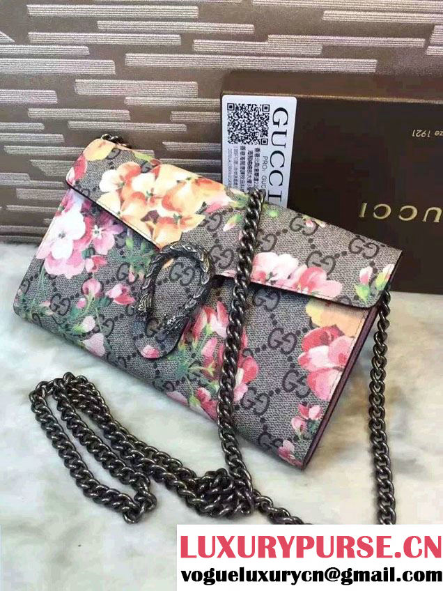 Gucci Dionysus Mini Chain Wallet Bag 401231 Red Blooms Pink 2016