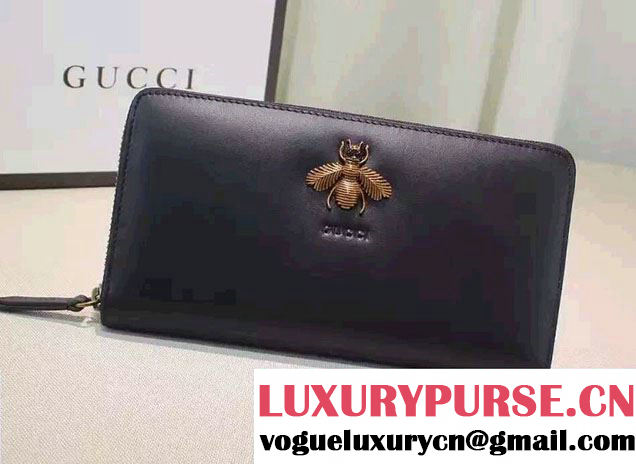Gucci Bee Embroidered Zip Around Wallet 428747 Black 2016