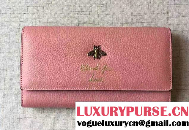 Gucci Animalier Bee And Blind For Love Continental Wallet 454070 Pink 2016