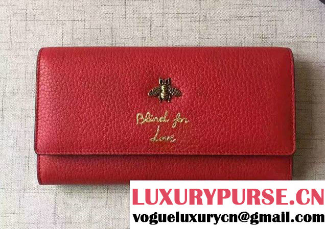 Gucci Animalier Bee And Blind For Love Continental Wallet 454070 Red 2016