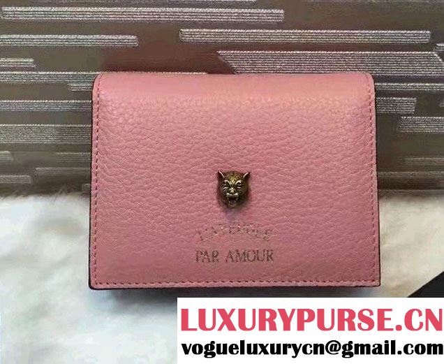 Gucci Animalier Feline Head And L'Aveugle Par Amour Card Case 453169 Pink 2016