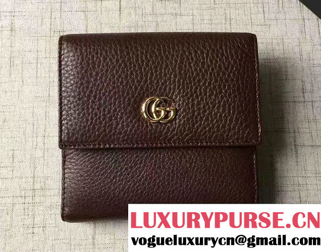 Gucci Leather French Flap Wallet 456122 Coffee 2016