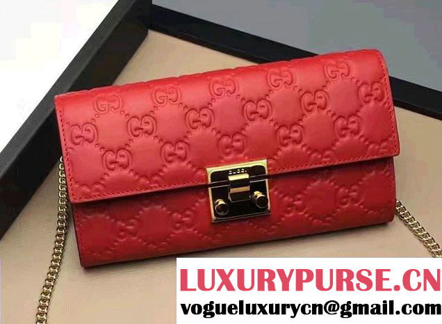 Gucci Padlock Signature Leather Continental Chain Wallet Bag 453506 Red 2017
