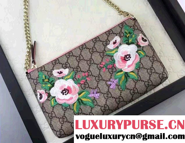Gucci Embroidered Flowers Exclusive GG Supreme Wrist Chain Wallet Bag 456866 Pink 2017