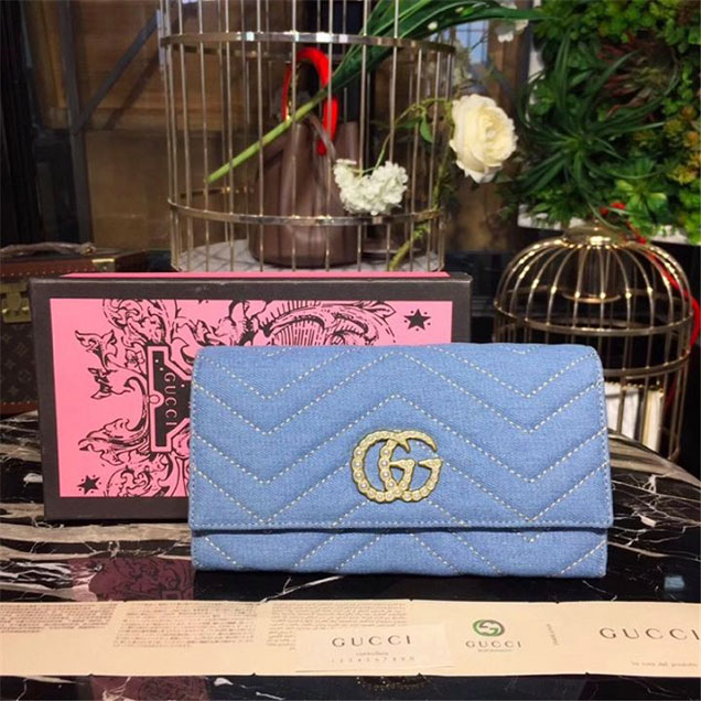 Gucci Pearl GG Marmont Matelasse Chevron Continental Wallet 19cm Calfskin Leather Fall Winter 2017 Collection Denim Blue