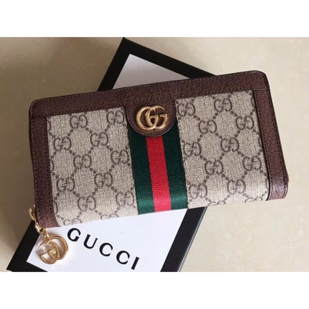 Gucci Ophidia GG Web Zip Around Wallet 523154 Brown 2018