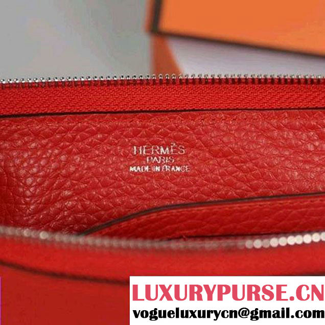 Hermes Zipper Cards Wallet Togo Leather A908 Red