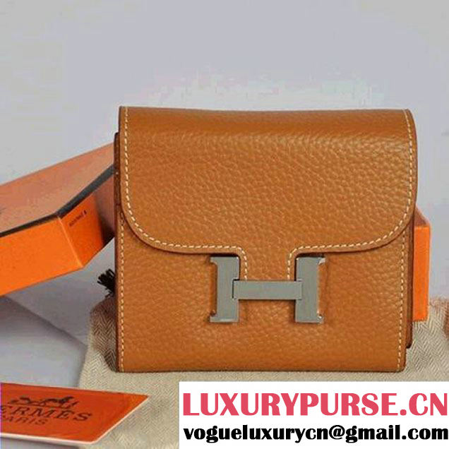 Hermes Constance Wallets Togo Leather A608 Camel