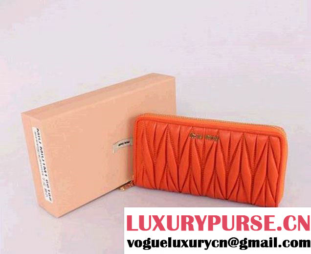 miu miu Matelasse Shiny Calf Leather Wallet 6616 Orange