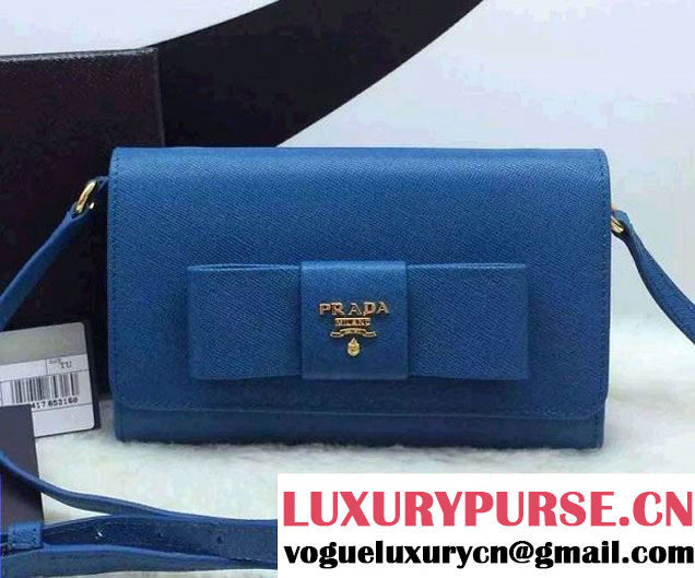 Prada Saffiano Leather Bow Wallet with Shoulder Strap 1M1437 Blue 2015/2016