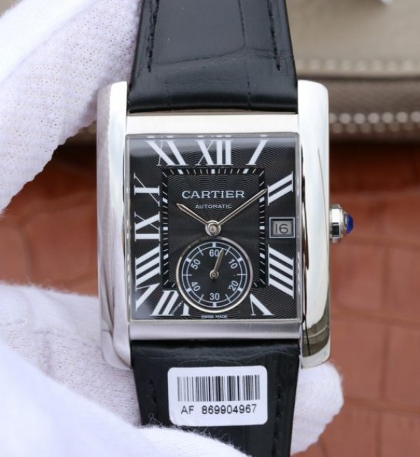 Cartier Tank MC SS Black Textured Dial Black Leather Strap