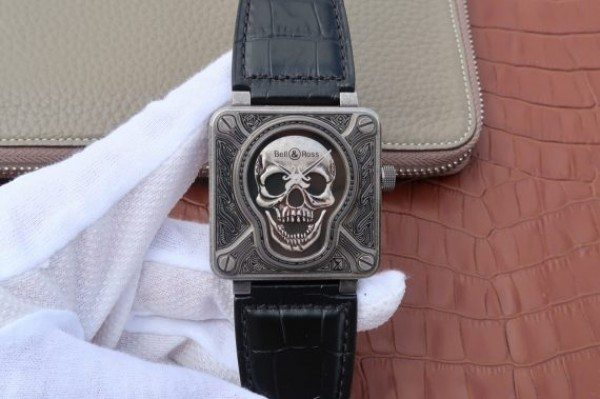 Bell & Ross BR01 Burning Skull Tattoo Watch Antique Dial Black Leather Strap MIYOTA 9015