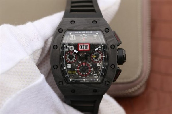 Richard Mille RM011 NTPT Carbon Case Chronograph KVF Crystal Skeleton Dial Red Black Rubber Strap A7750