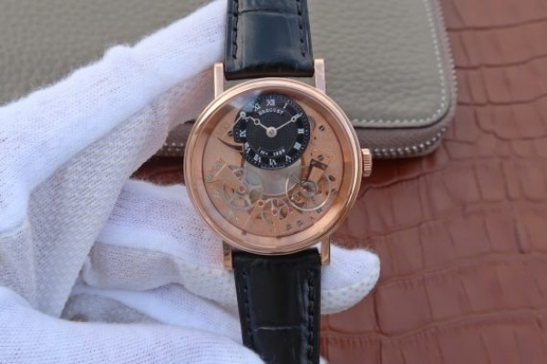 Breguet Tradition 7057BR/R9/9W6 RG SF Rose Gold Skeleton Dial Black Leather Strap A507